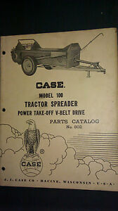 Vintage Case Model 100 Tractor Spreader Pto V belt Drive Parts Catalog No 802