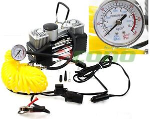 Portable 12v Mini Metal Air Pump Compressor Tire Inflator W Hose