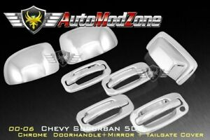 00 06 Chevy Tahoe Chrome 4 Door Handle Tailgate Upper Mirror Cover Combo