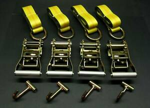 12pc Ylw 8 Lasso Strap 2 Ratchet J Finger Hook Tow Truck Tire Wheel Tie Down