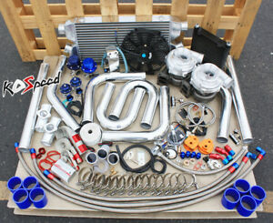 Universal High Performance Twin T70 Turbo Kit Charger Diy Custom Fmic Piping Hp