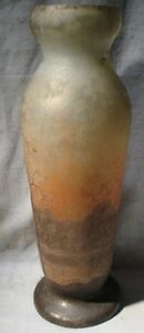 French Legras Art Deco Nouveau Vase Enamel Landscape Huge Monumental France