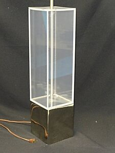 Chic 60 S Mid Century Modern Lucite Gilt Metal Architectural Column Table Lamp