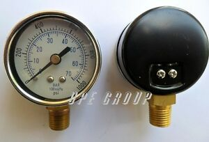 New Pressure Gauge Air Compressor Hydraulic 2 5 Face 1000psi Lower Mnt 1 4 Npt
