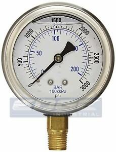 Liquid Filled Pressure Gauge 0 3 000 Psi 2 5 Face 1 4 Npt Lower Mount Wog