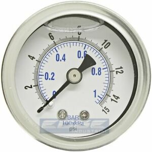 Liquid Filled Pressure Gauge 0 15 Psi 1 5 Face 1 8 Npt Back Mount