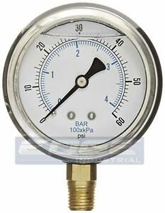 Liquid Filled Pressure Gauge 0 60 Psi 2 5 Face 1 4 Npt Lower Mount Wog