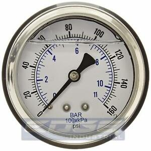 Liquid Filled Pressure Gauge 0 160 Psi 2 5 Face 1 4 Back Mount Wog