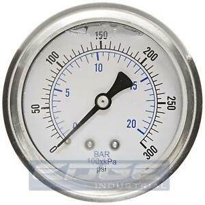 Liquid Filled Pressure Gauge 0 300 Psi 2 5 Face 1 4 Back Mount Wog