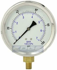 Liquid Filled Pressure Gauge Compressor Hydraulic 4 Face 0 100 Lower Mnt 1 4