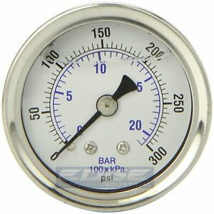 Liquid Filled Pressure Gauge 0 300 Psi 1 5 Face 1 8 Npt Back Mount