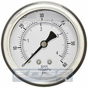 Liquid Filled Pressure Gauge 0 60 Psi 2 5 Face 1 4 Back Mount Wog