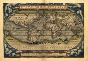 Large A1 Abraham Ortelius 1570 Reproduction Old Antique World Map Plan Poster