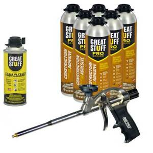 Great Stuff Wall Floor Adhesive 26 5 Oz Gun Foam 6 Cans Cleaner Foam Gun