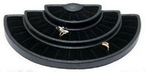 Black 36 Ring Half Round 3 tier Tray Jewelry Display Holder Showcase Stand Case