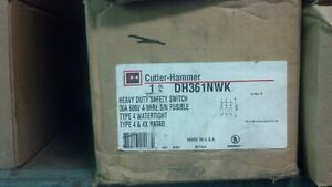Eaton Cutler Hammer Dh361nwk Safety Switch 30a 600v Fused Nema 4x Stainless