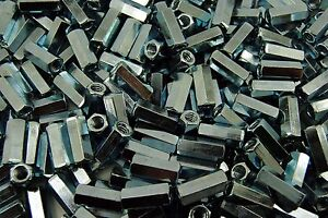250 Hex Coupling Nuts 1 4 20 X 3 8 X 7 8 Threaded Rod Connector Zinc