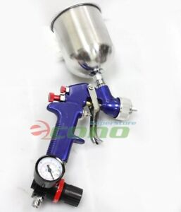 1 4mm Air Hvlp Gravity Feed Spray Paint Gun W Regulator Gauge Fluid Cup
