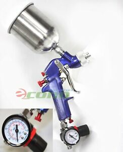 1 7mm Air Hvlp Gravity Feed Spray Paint Gun W Gauge Regulator 600cc Fluid Cup