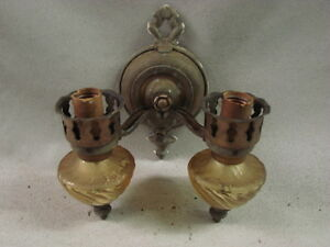 Antique Tin Metal Wall Sconce 1920 S Ornate Design With Glass Bases