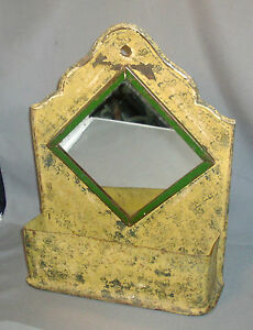 Antique Tole Mirror Wall Shelf Caddy For Brushes Combs Mail Paint Decorated