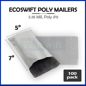 100 5x7 White Poly Mailers Shipping Envelopes Self Sealing Bags 2 35 Mil 5 X 7