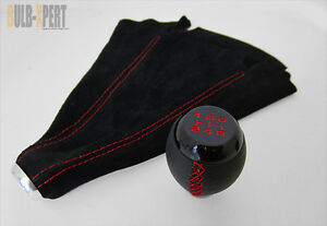 For Honda Civic Si 5 Speed Black Leather Shift Knob Suede Boot Red Stitch Combo