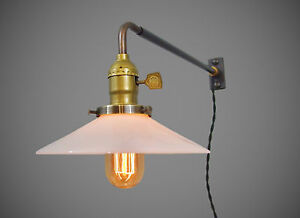 Vintage Industrial Wall Mount Light Opal Shade Machine Age Milk Glass Lamp