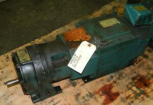 Reliance Electric 1 1 2 Hp Dc Motor T16g3015n od W Speed Reducer Used