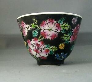 Chinese Porcelain Black Famille Noir Bowl Cup Peonies Flowers Tea