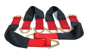 4 24 Axle Straps Hd Red Tie Down For Race Car Hauler Tow Truck 4x4 Off Road