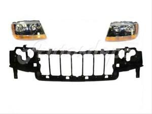 For 2004 Jeep Grand Cherokee Laredo sport Header Mounting Panel Headlight 3pc