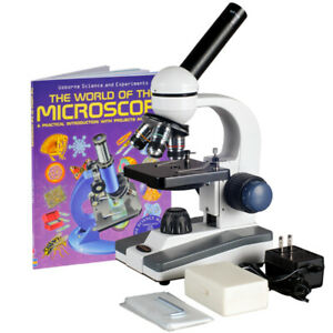Amscope 40x 1000x Glass Lens Metal Frame Led Compound Microscope Slide Kit