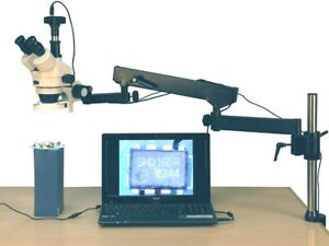 Amscope 3 5x 90x 144 led Articulating Arm Zoom Stereo Microscope 10mp Camera