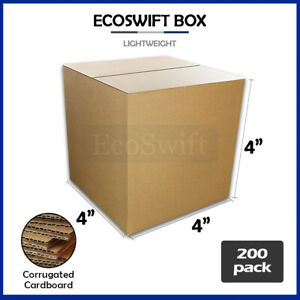200 4x4x4 Cardboard Packing Mailing Moving Shipping Boxes Corrugated Box Cartons