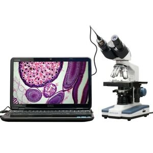 Amscope 40x 2500x Compound Binocular Microscope W 3d Stage 1 3mp Digital Camera