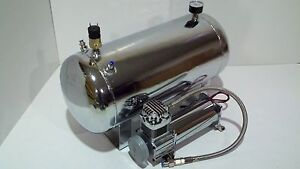 Chrome Turbo Compressor 5 Gallon Chrome Tank System Air Ride Suspension