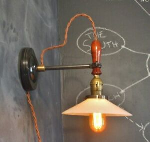 Vintage Industrial Wall Sconce Opal Shade Machine Age Cage Lamp Light