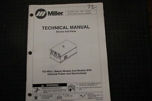 Miller Tig rig Pulser Welder Parts service operator Manual Repair Owner Welding