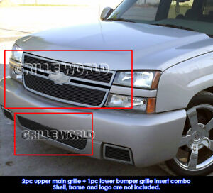 Fits 2006 Chevy Silverado 1500 Ss Black Billet Grille Combo Insert