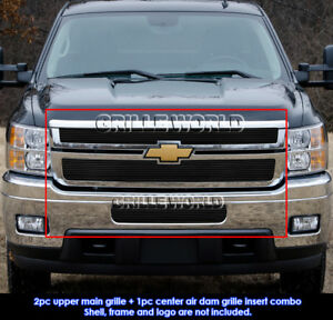 Fits Chevy Silverado 2500hd 3500hd Black Billet Grille Combo Insert 2011 2014