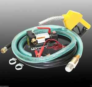 12v Bio Diesel Kerosene Fuel Transfer Direct Pump Kit W automatic Nozzle 12 hose