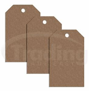 100 X Plain Brown Card Clothing Tags 50mm X 30mm Tagging Tag Gun Price Labels