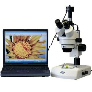 Amscope 3 5x 90x Zoom Stereo Microscope W Dual Halogen Lights 1 3mp Camera