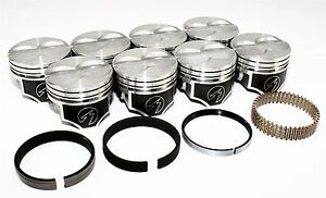 Sealed Power Chevy 400 4 165 Flat Top Pistons Moly Ring Kit Sbc 040 H616cp40