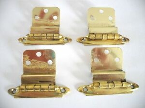 2 Pair Vintage Brass Plated Cabinet Door Hinges 3 8 Inset Pre Owned
