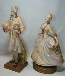 Lot Of 2 Large Antique Victorian Renaissance Man Woman Statue Figurine