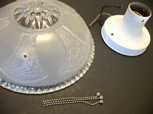 Vtg Frosted Ceiling Light Shade Fixture Chandelier Flowers Hearts 3 Chain Style