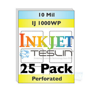 Inkjet Teslin Paper 8up Perforated For Making Pvc like Id Cards 25 Sheets