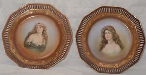 German Maiden Portrait Plates Schumann Reticulated Porcelain
